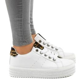 Sneakers leopardate bianche sulla piattaforma M-071 bianco 2