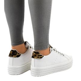 Sneakers leopardate bianche sulla piattaforma M-071 bianco 3