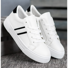 SHELOVET Scarpe sportive con pelle ecologica bianco 3