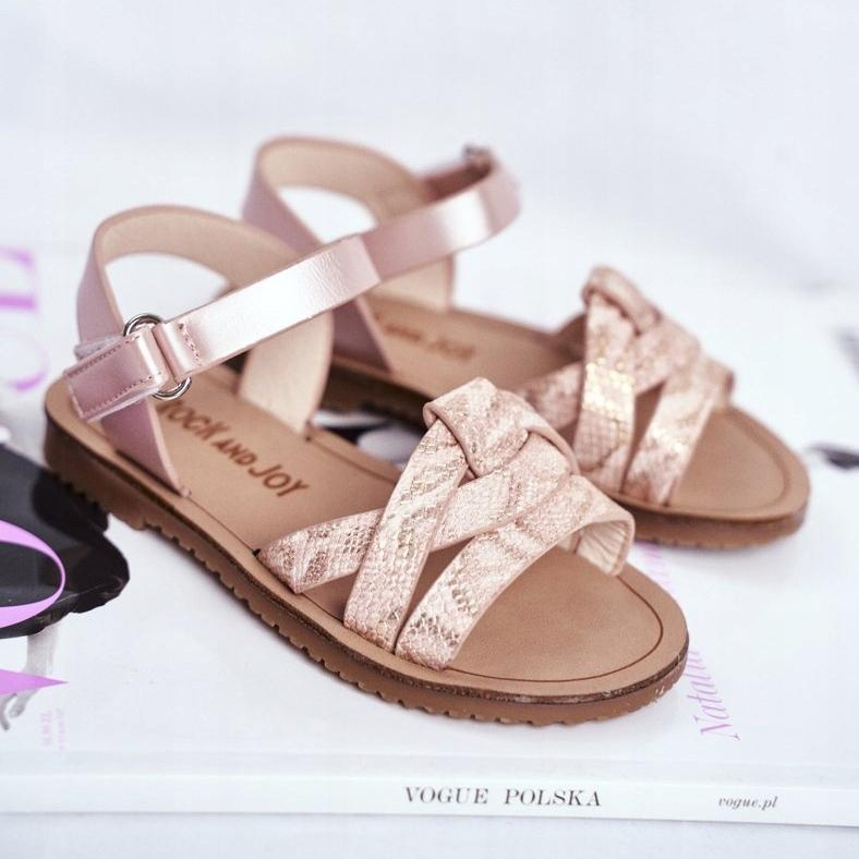 FRROCK-sandali-calzature-per-bambini-bambini-rosa-giallo-eco-pelle miniatura 2