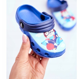 Pantofole per bambini Foam Crocs Blue Teddy Bear Pilot SuperFly 3