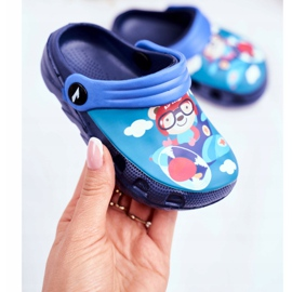 Pantofole per bambini Schiuma Crocs Navy Blue Teddy Bear Pilot SuperFly 2