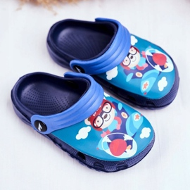 Pantofole per bambini Schiuma Crocs Navy Blue Teddy Bear Pilot SuperFly 1