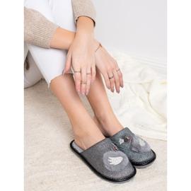 Bona Pantofole alla moda con applicazione grigio 2