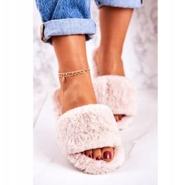 FRJ Pantofole di pelliccia da donna Beige Cold Days 3