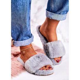 FRJ Pantofole di pelliccia da donna Grigio Cold Days 1