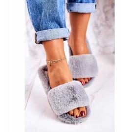 FRJ Pantofole di pelliccia da donna Grigio Cold Days 4