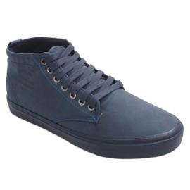 Sneakers alte alla moda Y007 blu navy marina 1