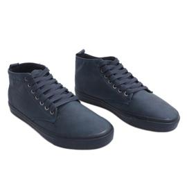 Sneakers alte alla moda Y007 blu navy marina 2