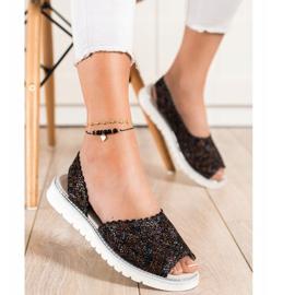 SHELOVET Comodi sandali in pelle nero multicolore 1
