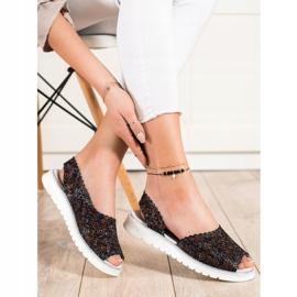 SHELOVET Comodi sandali in pelle nero multicolore 2