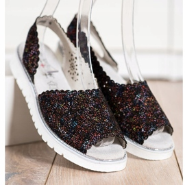 SHELOVET Comodi sandali in pelle nero multicolore 3