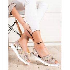 SHELOVET Comodi sandali in pelle beige rosa oro 1