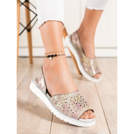 SHELOVET Comodi sandali in pelle beige rosa oro 3
