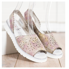 SHELOVET Comodi sandali in pelle beige rosa oro 2