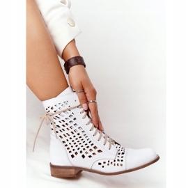 Stivali in pelle traforata Nicole 2627 White bianco 4