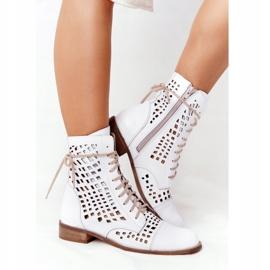 Stivali in pelle traforata Nicole 2627 White bianco 1