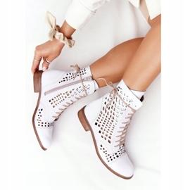 Stivali in pelle traforata Nicole 2627 White bianco 6