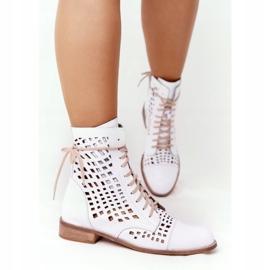 Stivali in pelle traforata Nicole 2627 White bianco 3