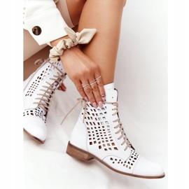 Stivali in pelle traforata Nicole 2627 White bianco 5