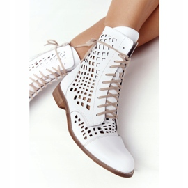 Stivali in pelle traforata Nicole 2627 White bianco 7