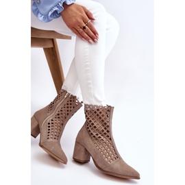 Stivali traforati in pelle scamosciata sul tacco alto Nicole 2638 Cappuccino beige 4