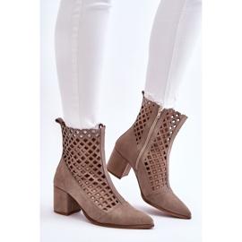 Stivali traforati in pelle scamosciata sul tacco alto Nicole 2638 Cappuccino beige 5