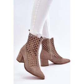 Stivali traforati in pelle scamosciata sul tacco alto Nicole 2638 Cappuccino beige 6