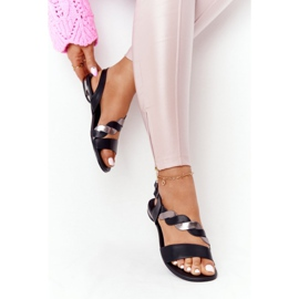 Sandali in pelle Vinceza 21-17117 neri e argento nero 4