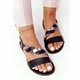 Sandali in pelle Vinceza 21-17117 neri e argento nero 1