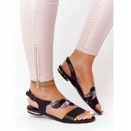 Sandali in pelle Vinceza 21-17117 neri e argento nero 3
