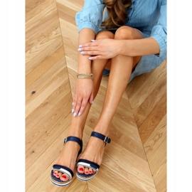 Sandali blu scuro con zeppa A89832 Blu marina 2