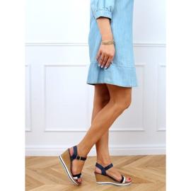 Sandali blu scuro con zeppa A89832 Blu marina 3