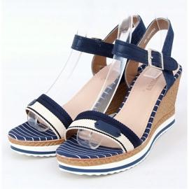 Sandali blu scuro con zeppa A89832 Blu marina 1