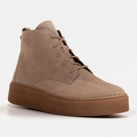 Marco Shoes Stivali bassi stringati realizzati in morbida pelle beige 1
