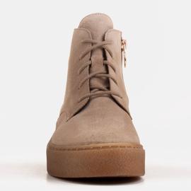 Marco Shoes Stivali bassi stringati realizzati in morbida pelle beige 2