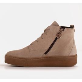 Marco Shoes Stivali bassi stringati realizzati in morbida pelle beige 3