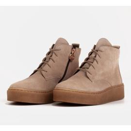 Marco Shoes Stivali bassi stringati realizzati in morbida pelle beige 4