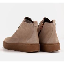 Marco Shoes Stivali bassi stringati realizzati in morbida pelle beige 5