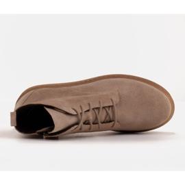 Marco Shoes Stivali bassi stringati realizzati in morbida pelle beige 6
