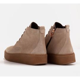 Marco Shoes Stivali bassi stringati realizzati in morbida pelle beige 7