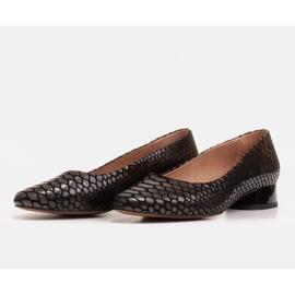 Marco Shoes Ballerine in pelle di serpente con tacco tondo nero 3