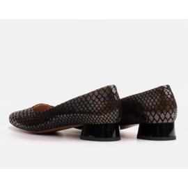 Marco Shoes Ballerine in pelle di serpente con tacco tondo nero 4