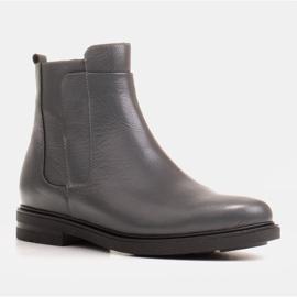 Marco Shoes Stivali leggeri isolati con fondo piatto in pelle naturale grigio 1