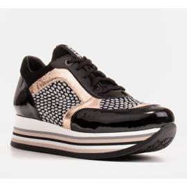 Marco Shoes Sneakers leggere su una suola spessa in pelle naturale nero 2
