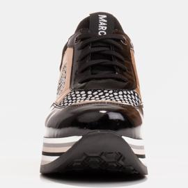 Marco Shoes Sneakers leggere su una suola spessa in pelle naturale nero 4