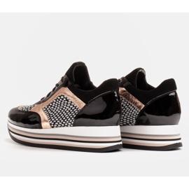 Marco Shoes Sneakers leggere su una suola spessa in pelle naturale nero 6