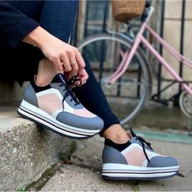 Marco Shoes Sneakers leggere su una suola spessa in pelle naturale grigio 8