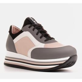 Marco Shoes Sneakers leggere su una suola spessa in pelle naturale grigio 1