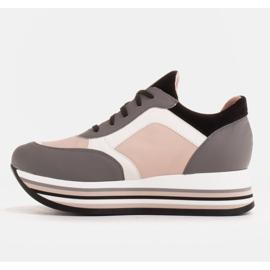 Marco Shoes Sneakers leggere su una suola spessa in pelle naturale grigio 3